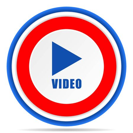 Video round icon, red, blue and white french design illustration for web, internet and mobile applications