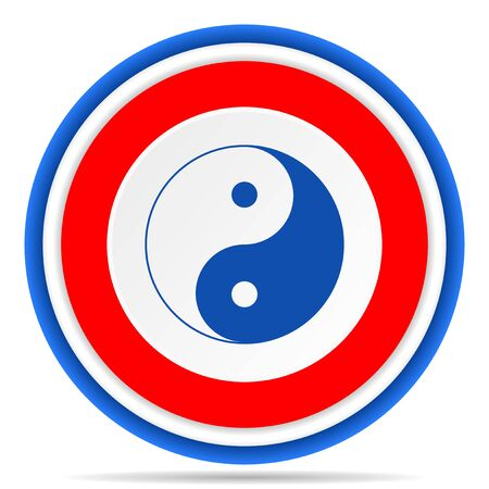 Ying yang round icon, red, blue and white french design illustration for web, internet and mobile applications