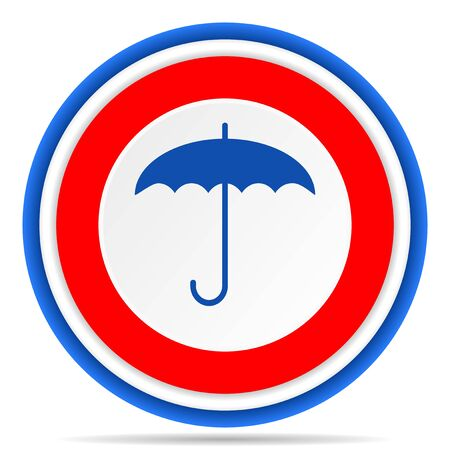 Umbrella round icon, red, blue and white french design illustration for web, internet and mobile applications