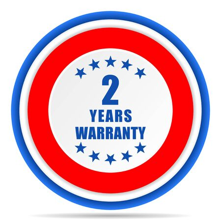 Warranty guarantee 2 year round icon, red, blue and white french design illustration for web, internet and mobile applications