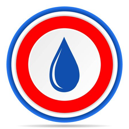 Water drop round icon, red, blue and white french design illustration for web, internet and mobile applications