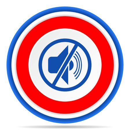 Mute round icon, red, blue and white french design illustration for web, internet and mobile applications 写真素材