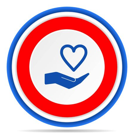 Care love round icon, red, blue and white french design illustration for web, internet and mobile applications