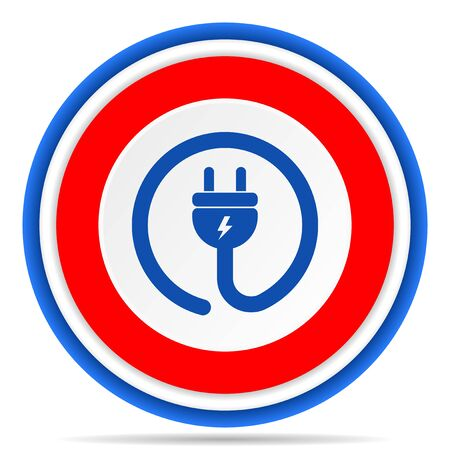 Plug power round icon, red, blue and white french design illustration for web, internet and mobile applications