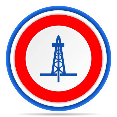 Drilling round icon, red, blue and white french design illustration for web, internet and mobile applications Stok Fotoğraf - 131559195