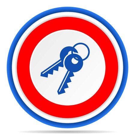 Keys round icon, red, blue and white french design illustration for web, internet and mobile applications