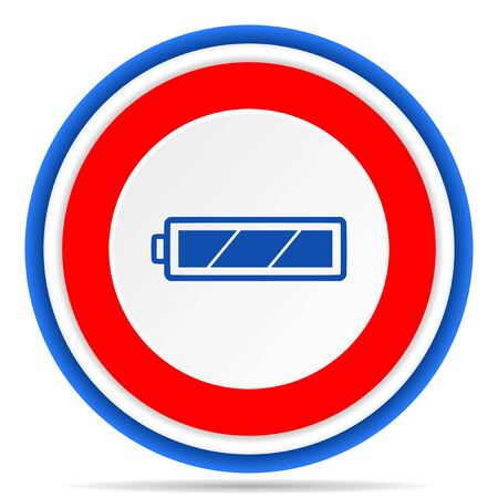 Battery round icon, red, blue and white french design illustration for web, internet and mobile applications