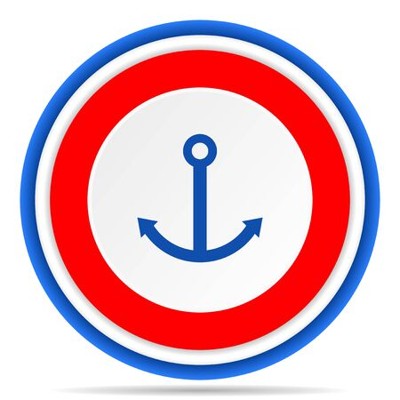 Anchor round icon, red, blue and white french design illustration for web, internet and mobile applications 版權商用圖片