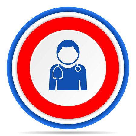 Doctor round icon, red, blue and white french design illustration for web, internet and mobile applications