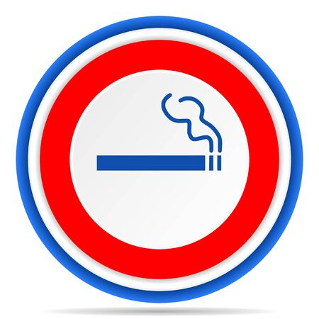 Cigarette round icon, red, blue and white french design illustration for web, internet and mobile applications Stock fotó