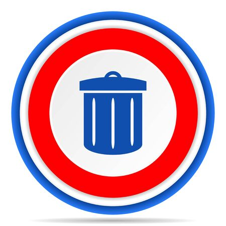 Recycle round icon, red, blue and white french design illustration for web, internet and mobile applications