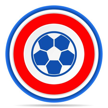 Soccer round icon, red, blue and white french design illustration for web, internet and mobile applications