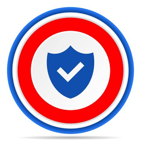 Shield round icon, red, blue and white french design illustration for web, internet and mobile applications 版權商用圖片 - 131559373