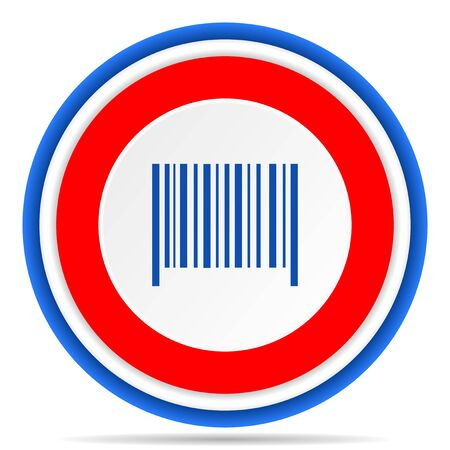Barcode round icon, red, blue and white french design illustration for web, internet and mobile applications