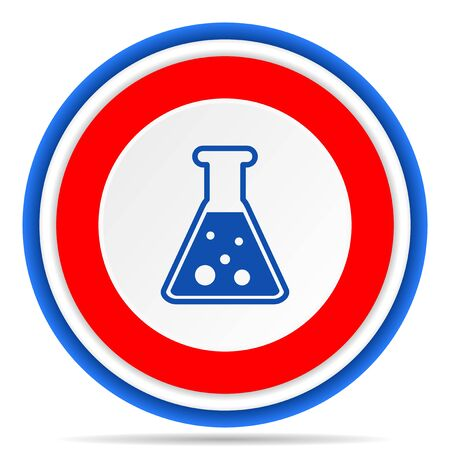 Science, laboratory, chemistry round icon, red, blue and white french design illustration for web, internet and mobile applications