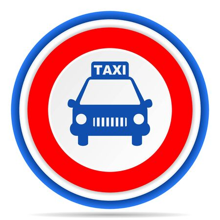 Taxi round icon, red, blue and white french design illustration for web, internet and mobile applications 스톡 콘텐츠