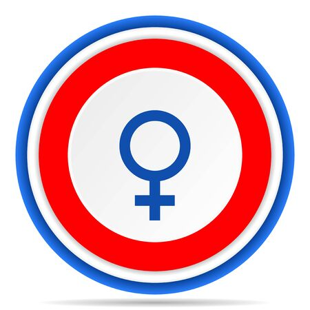 Female round icon, red, blue and white french design illustration for web, internet and mobile applications Banque d'images - 131014775