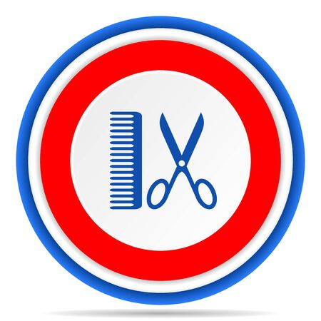 Barber round icon, red, blue and white french design illustration for web, internet and mobile applications