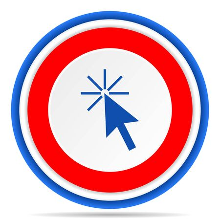 Click here round icon, red, blue and white french design illustration for web, internet and mobile applications