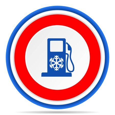 Winter fuel round icon, red, blue and white french design illustration for web, internet and mobile applications