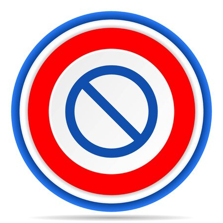 Access denied round icon, red, blue and white french design illustration for web, internet and mobile applications