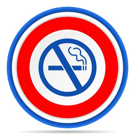 No smoking round icon, red, blue and white french design illustration for web, internet and mobile applications Stock fotó - 131559892