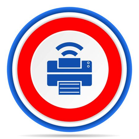 Printer round icon, red, blue and white french design illustration for web, internet and mobile applications Stok Fotoğraf