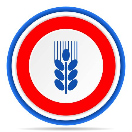 Grain round icon, red, blue and white french design illustration for web, internet and mobile applications Фото со стока