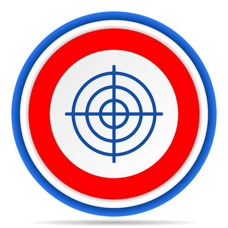 Target round icon, red, blue and white french design illustration for web, internet and mobile applications