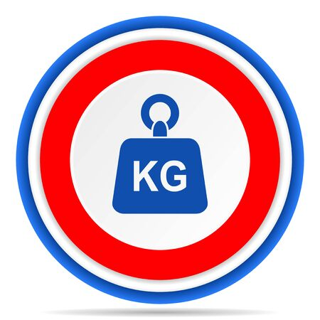 Weight, kg, kilogram round icon, red, blue and white french design illustration for web, internet and mobile applications