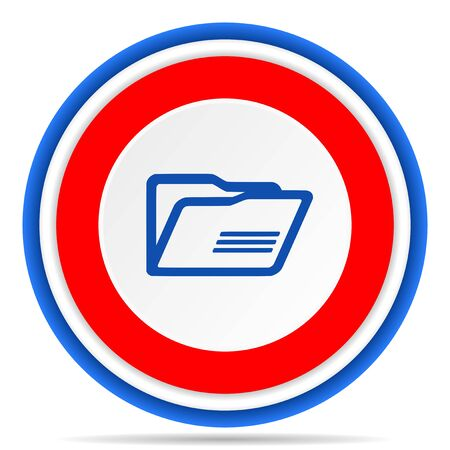 Folder round icon, red, blue and white french design illustration for web, internet and mobile applications Фото со стока