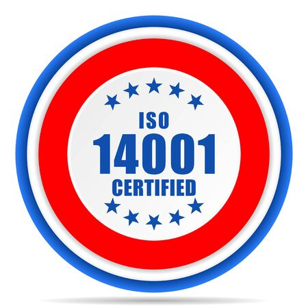 Iso 14001 round icon, red, blue and white french design illustration for web, internet and mobile applications Stok Fotoğraf