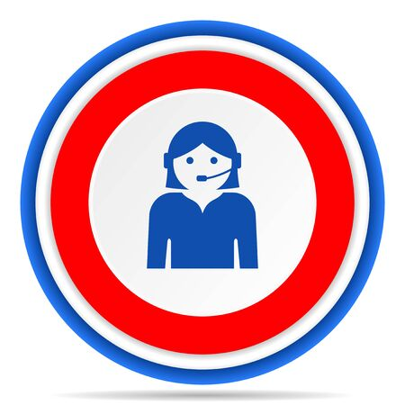 Call center round icon, red, blue and white french design illustration for web, internet and mobile applications 写真素材