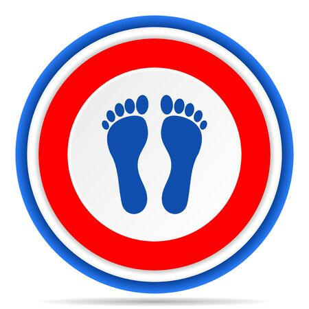 Foot round icon, red, blue and white french design illustration for web, internet and mobile applications