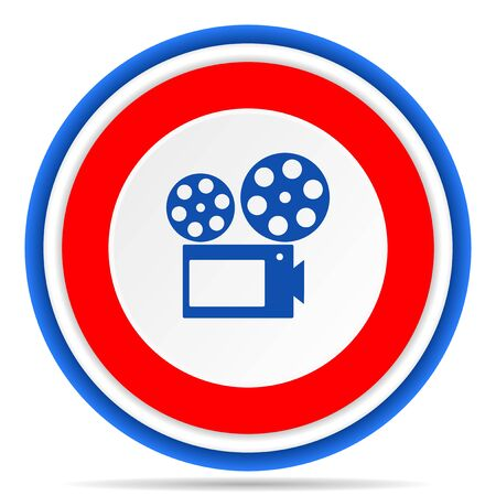 Movie round icon, red, blue and white french design illustration for web, internet and mobile applications