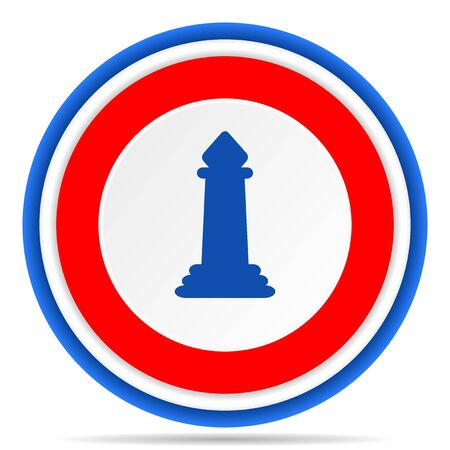 Chess round icon, red, blue and white french design illustration for web, internet and mobile applications Stock Photo