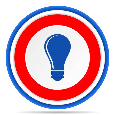 Bulb round icon, red, blue and white french design illustration for web, internet and mobile applications