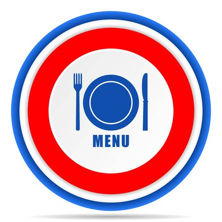 Menu round icon, red, blue and white french design illustration for web, internet and mobile applications Stok Fotoğraf