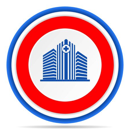 Hospital building round icon, red, blue and white french design illustration for web, internet and mobile applications Stok Fotoğraf