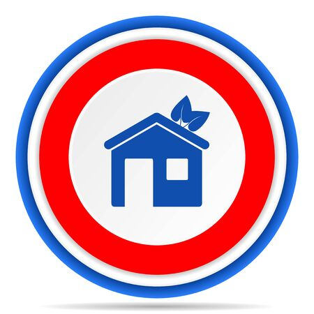 House round icon, red, blue and white french design illustration for web, internet and mobile applications