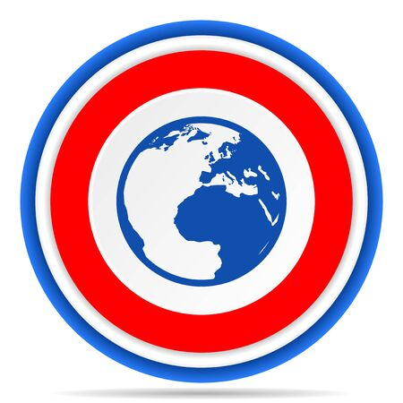 Earth round icon, red, blue and white french design illustration for web, internet and mobile applications