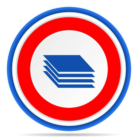 Layers round icon, red, blue and white french design illustration for web, internet and mobile applications Stok Fotoğraf
