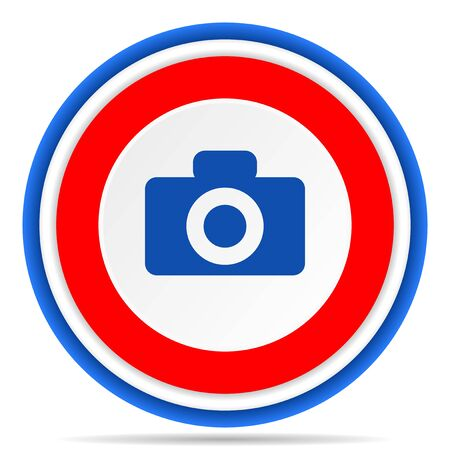 Camera round icon, red, blue and white french design illustration for web, internet and mobile applications