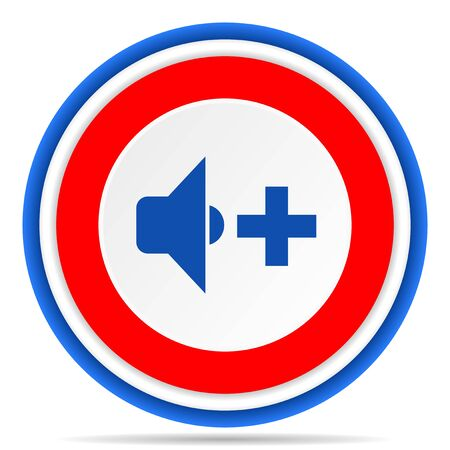 Speaker volume round icon, red, blue and white french design illustration for web, internet and mobile applications