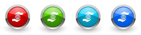 Hand care planet environment silver metallic glossy icons, set of modern design buttons for web, internet and mobile applications in four colors options isolated on white background Banco de Imagens