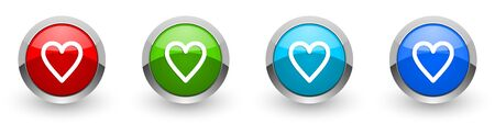 Heart silver metallic glossy icons, set of modern design buttons for web, internet and mobile applications in four colors options isolated on white background