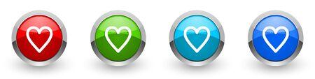 Iconos brillantes de corazón plateado metálico, conjunto de botones de diseño moderno para aplicaciones web, Internet y móviles en cuatro opciones de colores aisladas sobre fondo blanco