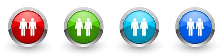 Couple silver metallic glossy icons, set of modern design buttons for web, internet and mobile applications in four colors options isolated on white background Stock Photo