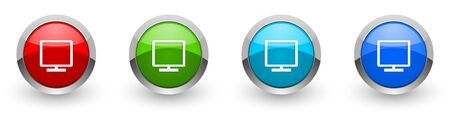 Tv silver metallic glossy icons, set of modern design buttons for web, internet and mobile applications in four colors options isolated on white background
