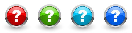 Question mark silver metallic glossy icons, set of modern design buttons for web, internet and mobile applications in four colors options isolated on white background Reklamní fotografie